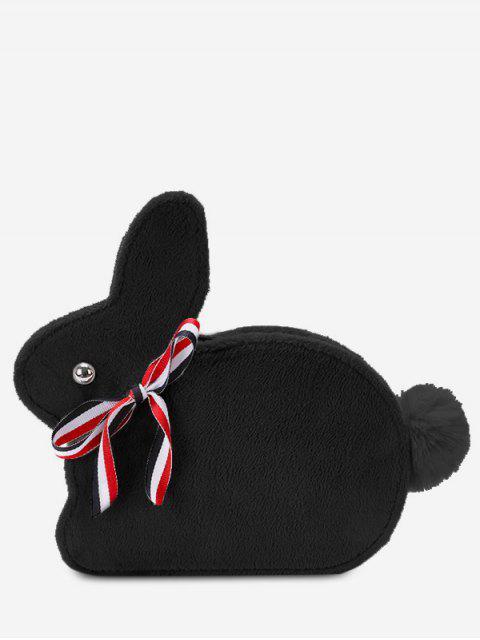 fashion Faux Fur Rabbit Shape Crossbody Bag - BLACK  Mobile