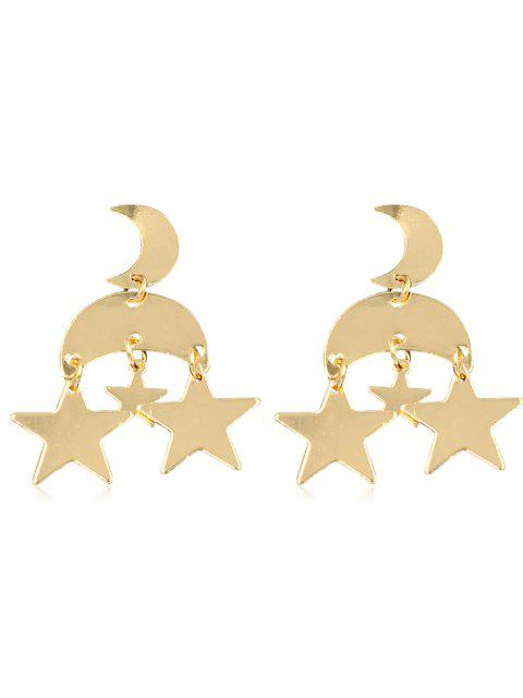 shop Vintage Star Moon Alloy Drop Earrings - GOLD  Mobile