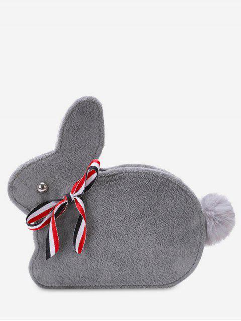 trendy Faux Fur Rabbit Shape Crossbody Bag - GRAY  Mobile