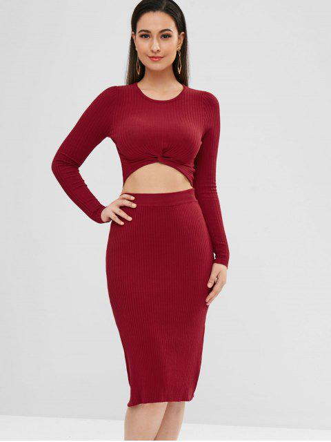 Ribbed Twisted Top und Rock Set - Roter Wein L Mobile