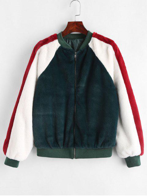 Color Block flauschige Jacke - Dunkelgrün L Mobile