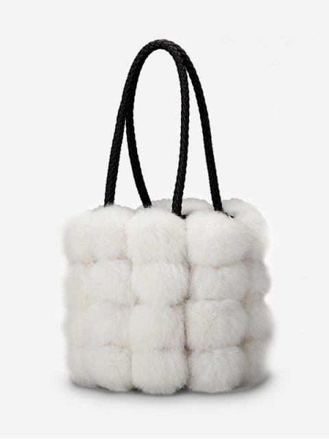 unique Faux Fur String Design Handbag - WHITE  Mobile