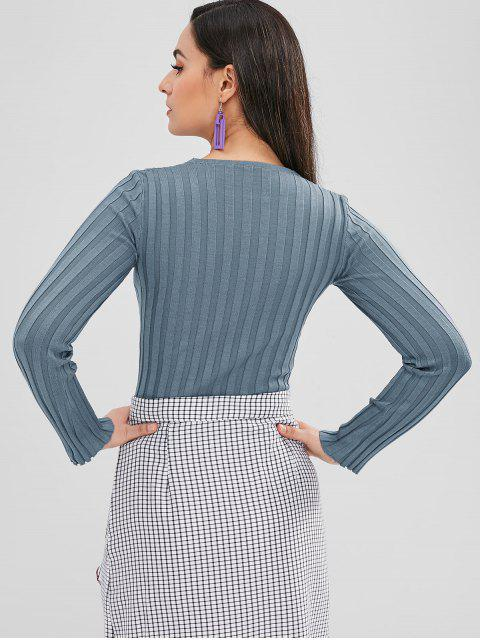outfits Lace Up Fitted Knit Top - BLUE GRAY ONE SIZE Mobile