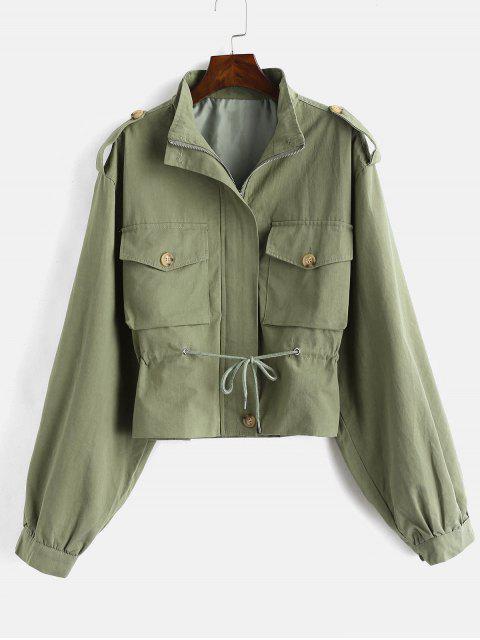 Caída de bolsillo de hombro con cremallera chaqueta - Verde de Helecho L Mobile