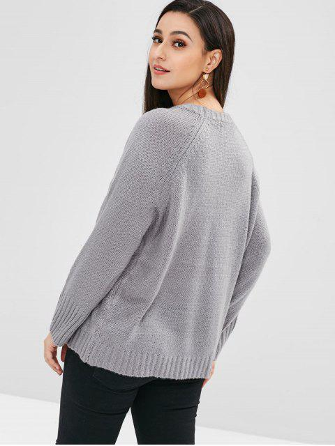 sale Raglan Sleeves Loose Sweater - BLUE GRAY ONE SIZE Mobile