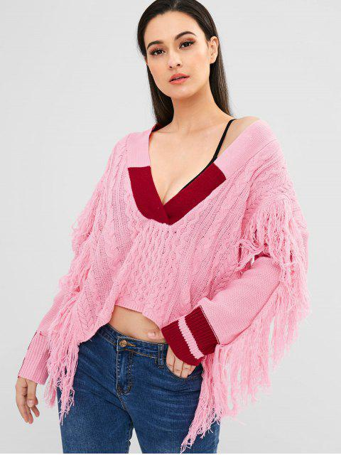 Gestreifter Strickpullover mit Fransen - Rosa Eine Größe Mobile
