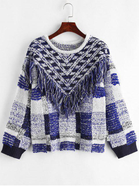 Geometrische Fransen Drop Shoulder Sweater - Multi Eine Größe Mobile