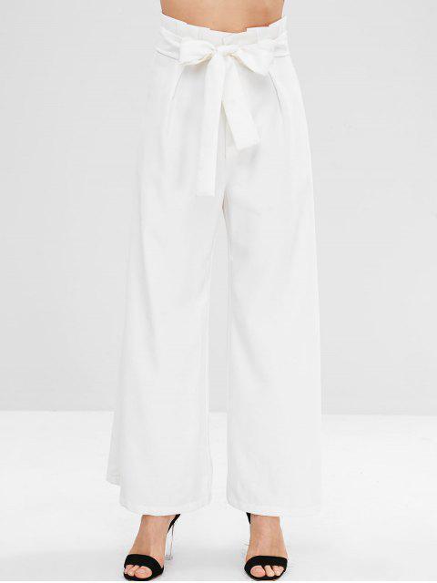 ZAFUL Rüschen Belted Wide Leg Pants - Weiß M Mobile