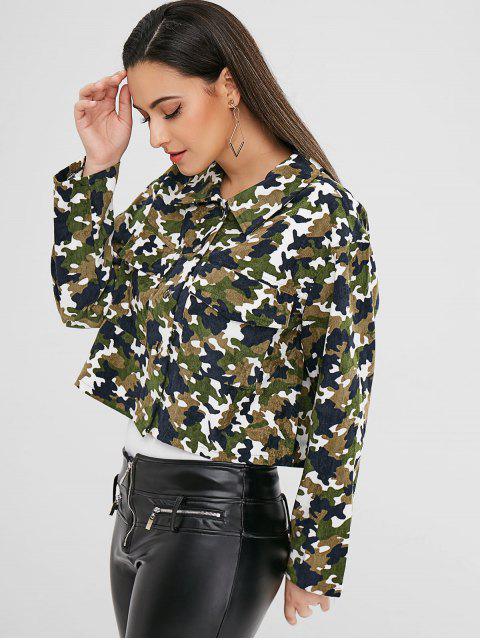 outfit ZAFUL Snap Button Camouflage Corduroy Jacket - CAMOUFLAGE GREEN M Mobile