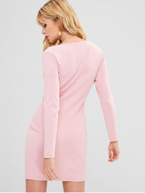 hot Square Collar Ribbed Bodycon Dress - PINK XL Mobile