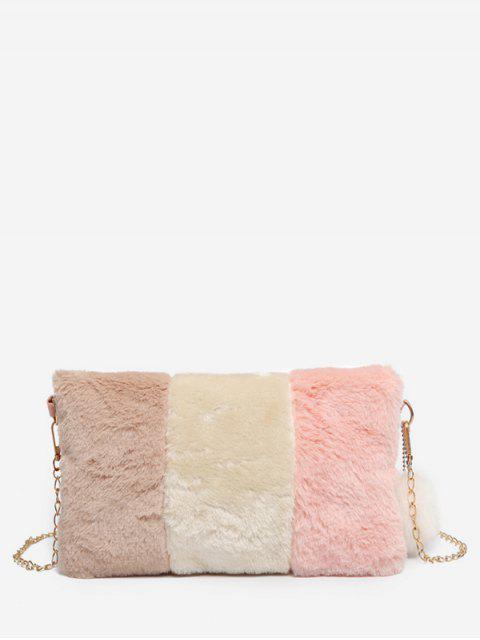 womens Color Block Faux Fur Crossbody Bag - LIGHT PINK  Mobile