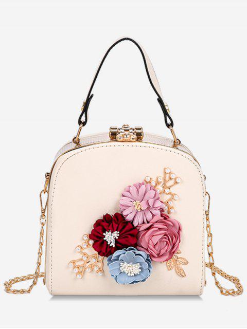 women's Hasp Closure Flower Chain Crossbody Bag - BEIGE  Mobile
