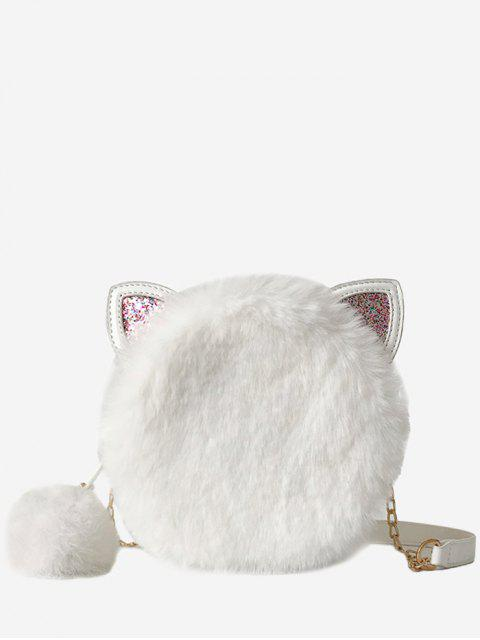 outfit Cat Shape Faux Fur Crossbody Bag - WHITE  Mobile