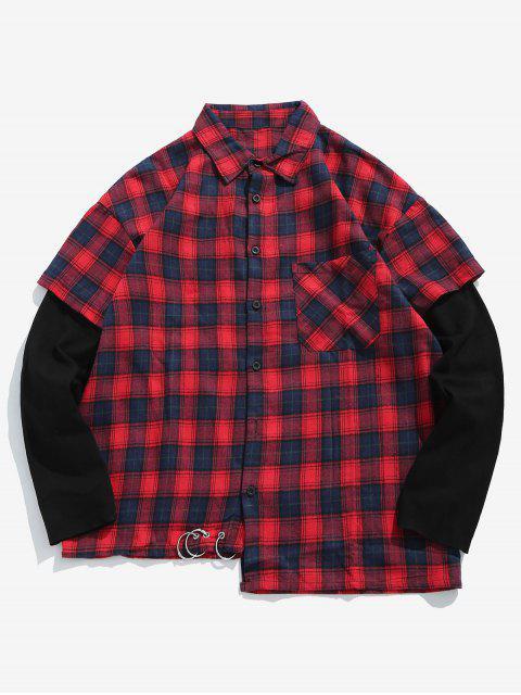 Chemise à Carreaux Fausse Deux Pièces - Rouge S Mobile