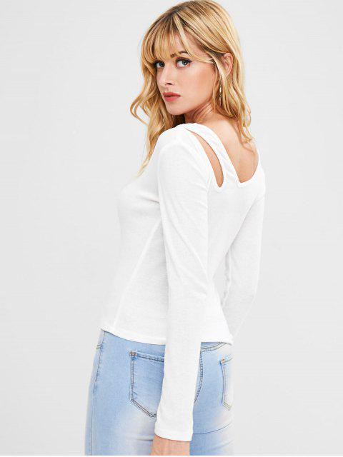 trendy V Neck Cutout Ribbed Top - WHITE L Mobile