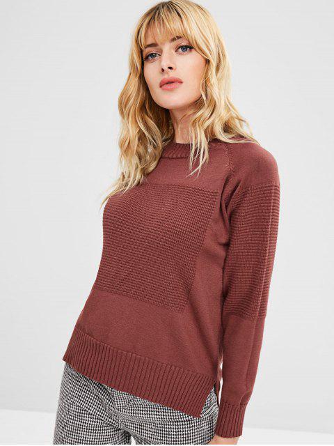 unique Side Slit Crew Neck Sweater - CHESTNUT ONE SIZE Mobile