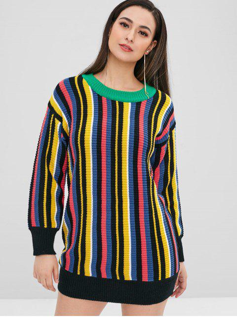 affordable Multicolor Striped Chunky Sweater - MULTI ONE SIZE Mobile