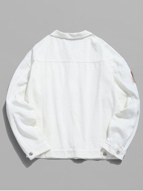 chic Multi Pocket Applique Embellished Denim Jacket - WHITE 2XL Mobile