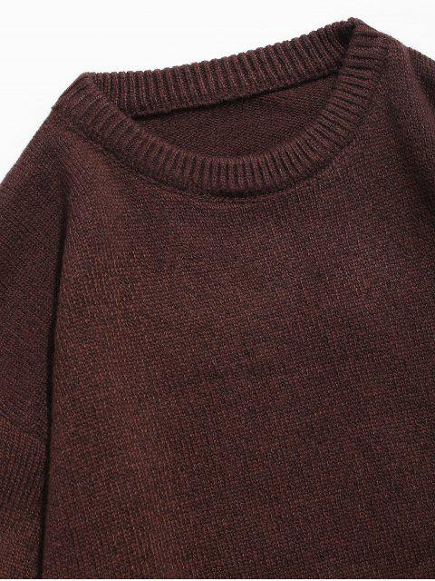 women's Round Neck Contract Color Pullover Sweater - COFFEE L Mobile