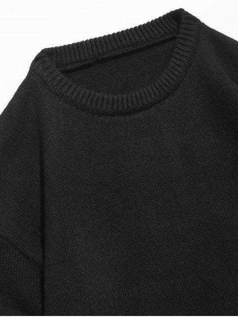 lady Round Neck Contract Color Pullover Sweater - BLACK M Mobile