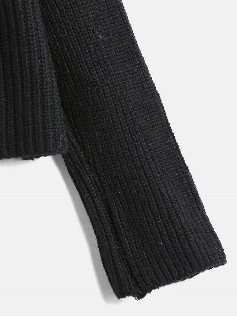 women V Neck Button Up Raglan Sleeve Cardigan - BLACK ONE SIZE Mobile