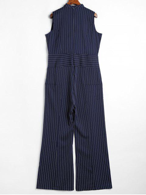 fancy Sleeveless Choker Stripes Jumpsuit - MIDNIGHT BLUE L Mobile
