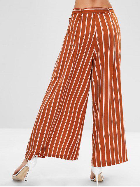womens ZAFUL High Slit Striped Belted Pants - TIGER ORANGE XL Mobile