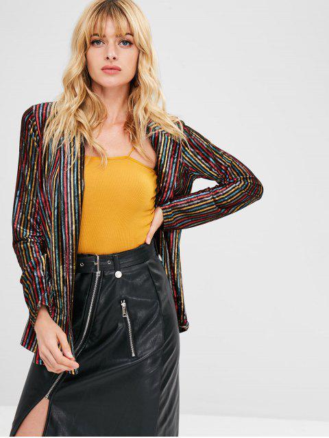 women ZAFUL Contrast Striped Velvet Open Blazer - MULTI M Mobile
