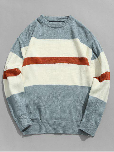 latest Color Block Stripe Pullover Knitted Sweater - BABY BLUE XL Mobile