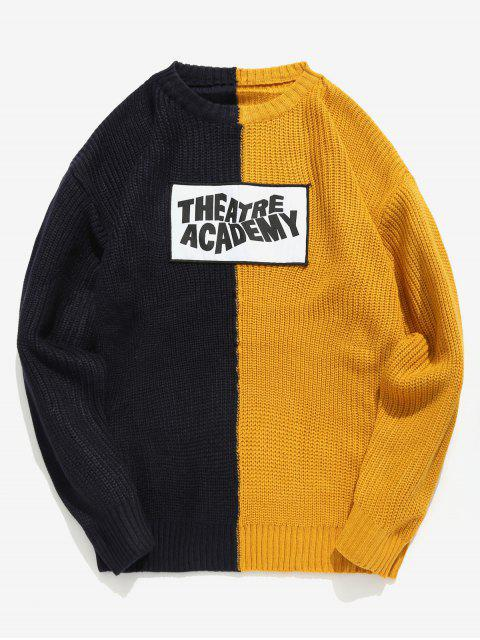 best Letter Patchwork Color Block Knit Sweater - BRIGHT YELLOW XL Mobile
