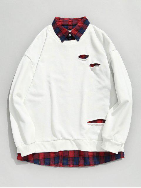 lady Plaid Shirt False Two Piece Sweatshirt - WHITE M Mobile