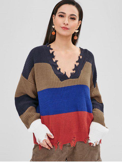 online ZAFUL Frayed Oversized Stripes Sweater - MULTI ONE SIZE Mobile