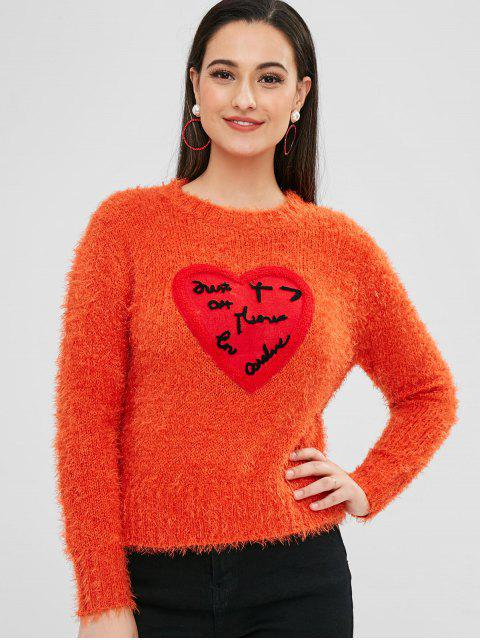 buy ZAFUL Heart Patched Loose Fluffy Sweater - ORANGE ONE SIZE Mobile