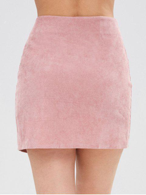 lady Corduroy Buttoned Mini Skirt - PINK M Mobile