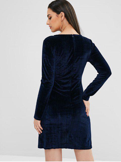 lady ZAFUL Long Sleeve Striped Velvet Dress - DEEP BLUE M Mobile