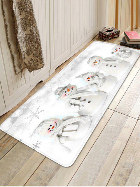 shops Christmas Snowmen Family Pattern Anti-skid Area Rug - WHITE W24 X L71 INCH Mobile