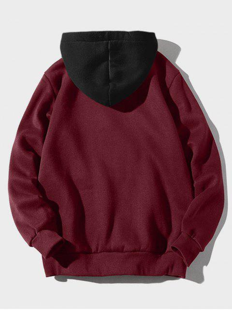 shop Color-blocking Letter Patch Detail Pouch Pocket Fleece Hoodie - RED WINE M Mobile