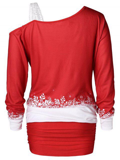 sale Plus Size Christmas Elk Print Blouson T-shirt - RED 1X Mobile