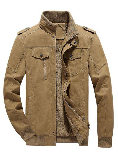 Faux Fur Lined Solid Jacket - Khaki L