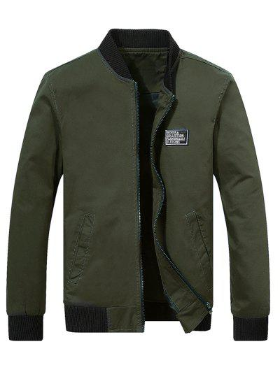 Chest Applique Bomber Jacket - Army Green 2xl