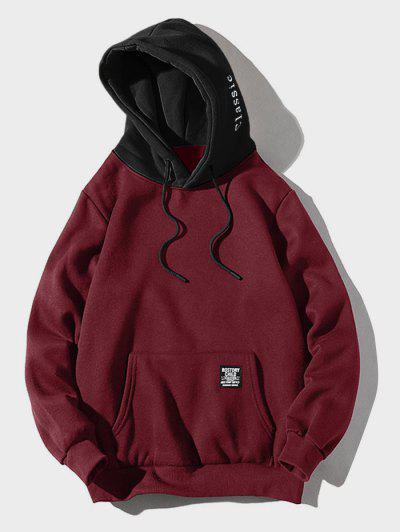 Color-blocking Letter Patch Detail Pouch Pocket Fleece Hoodie - Red Wine L