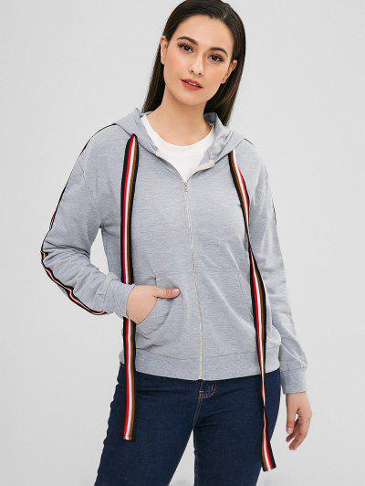 Zip Striped Trim Pocket Hoodie - Gray S
