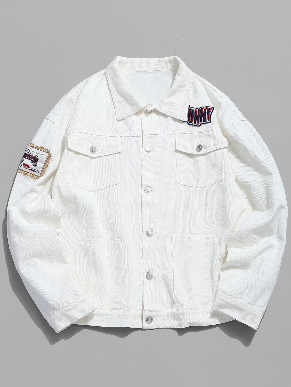 Multi Pocket Applique Embellished Denim Jacket
