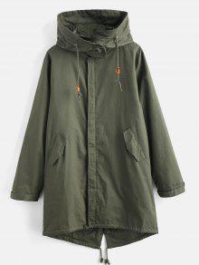 الرباط هيم Longline الصلبة معطف - متوسطة غابة خضراء M