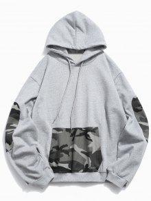 الكنغر جيب التمويه تقسم Hoodie - سحابة رمادية 2xl