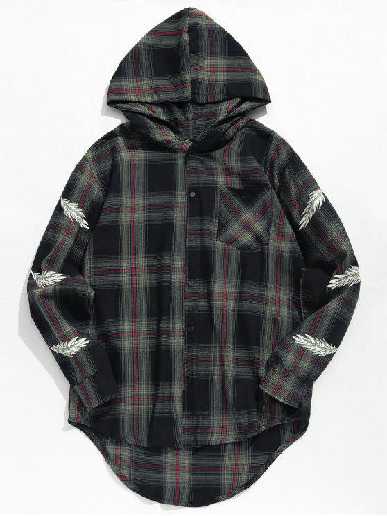 buy Feather Print Plaid Hooded Shirt - BLACK M