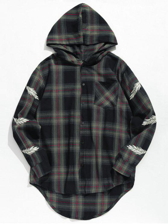 women's Feather Print Plaid Hooded Shirt - BLACK XL