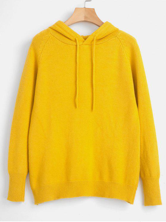 new Drawstring Raglan Sleeve Hooded Sweater - YELLOW ONE SIZE