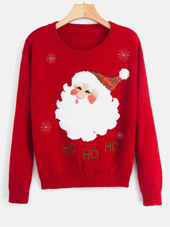 hot Santa Claus Patch Embroidered Christmas Sweater - RED ONE SIZE