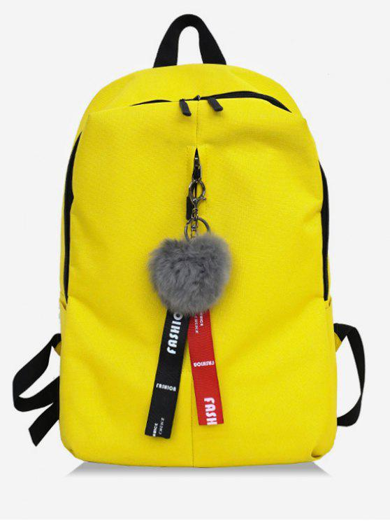 womens Faux Fur Ball Letter Print School Backpack - YELLOW